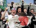 Demonstrationen in Seoul Suedkora gegen Japans Anspruch auf die Dokdo Takshima Inseln